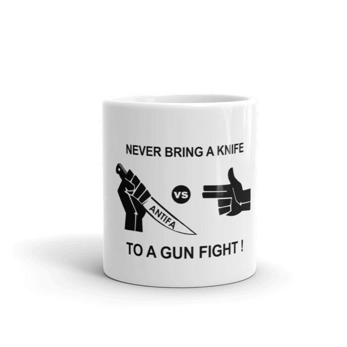 Never Bring Knife To Gun Fight Black Mug